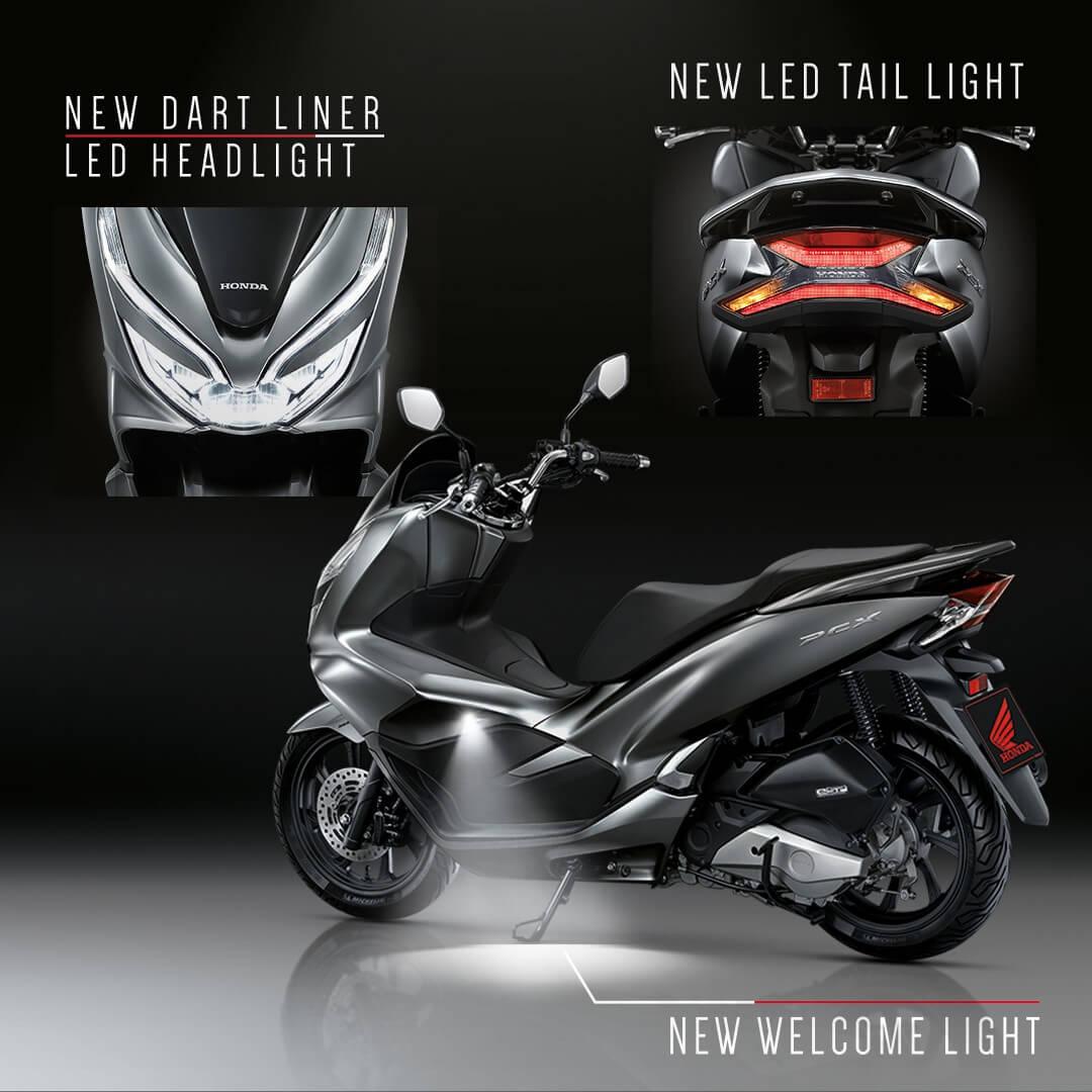 Honda-Motorcycle-มอเตอร์ไซค์-ฮอนด้า-pcx150-2018-ข่าวประชาสัมพันธ์-ข่าวผลิตภัณฑ์-new-welcome-light-new-dart-liner-led-headlight-new-led-tail-light